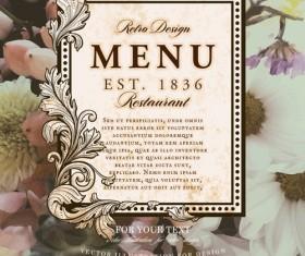 Vintage restaurant menu cover with flower blurs background vector 09
