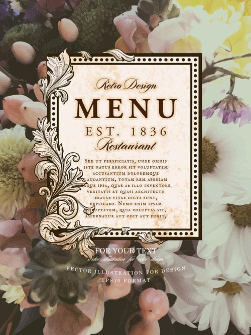 vintage restaurant menu cover with flower blurs background