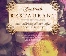 Vintage restaurant menu cover with flower blurs background vector 10