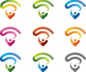 WIFI abstract icons set
