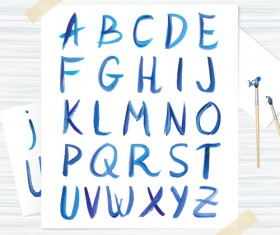 Watercolor alphabet letter with numebrs vector 03