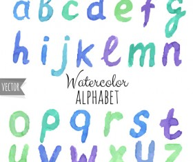 Watercolor alphabet letter with numebrs vector 08