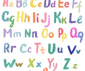 Watercolor alphabet letter with numebrs vector 10