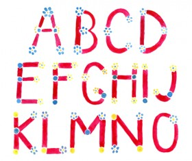 Watercolor with flower alphabet vector 01