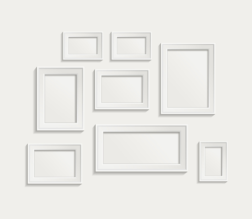 white frame on wall vector design 09