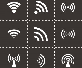 Wi-Fi wireless signal icons set