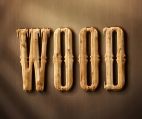 Wooden textured font effects design