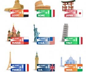 World landmarks with air ticket vector