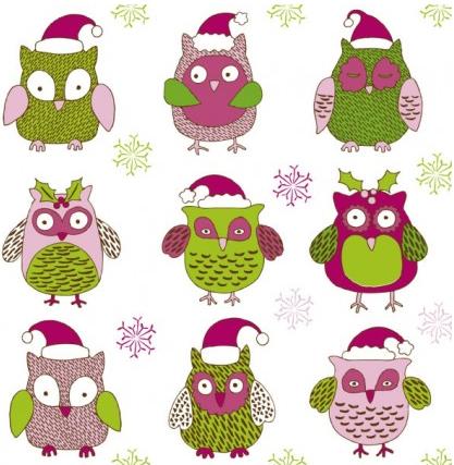 cartoon christmas owl pattern  01 vector