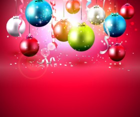 christmas colorful balls with red background vector