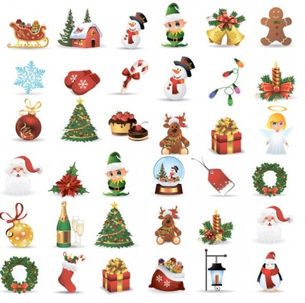 christmas baubles icons vectors