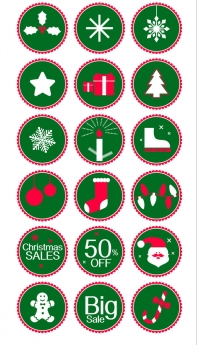 Round green christmas icons vector