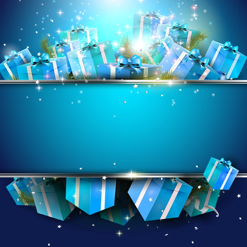 Christmas Gift Background: Luxury Blue Christmas Gift Boxs Background Free Download