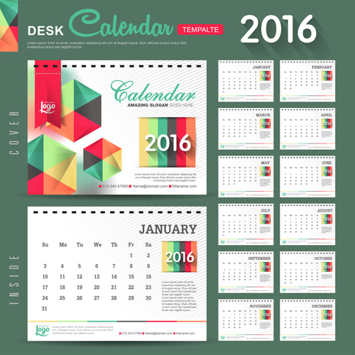 Year Calendar Desk : New year desk calendar vector material