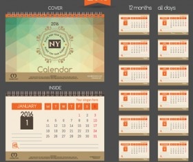 2016 New year desk calendar vector material 80