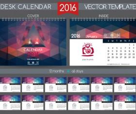 2016 New year desk calendar vector material 81