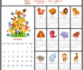 2016 calendar cartoon animal vector material