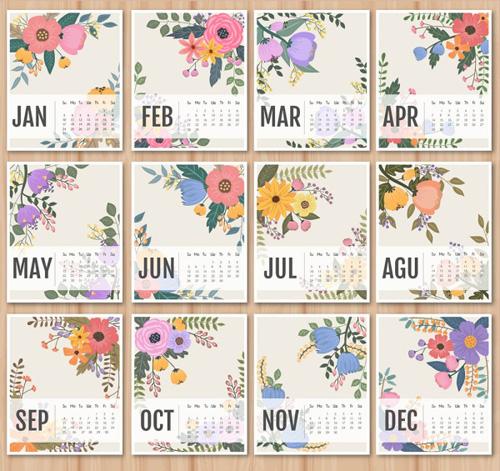 2016 Calendar With Retro Flower Vectors Vector Calendar