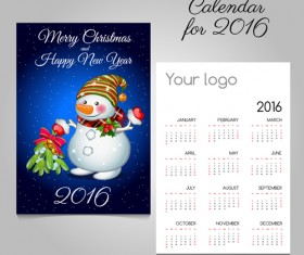 2016 calendars with christmas cards vector set 01