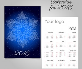 2016 calendars with christmas cards vector set 02