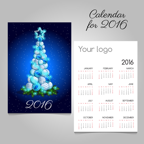 2016 calendars with christmas cards vector set 03
