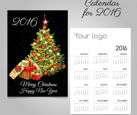 2016 calendars with christmas cards vector set 04