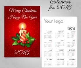2016 calendars with christmas cards vector set 05