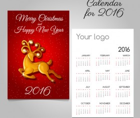 2016 calendars with christmas cards vector set 07