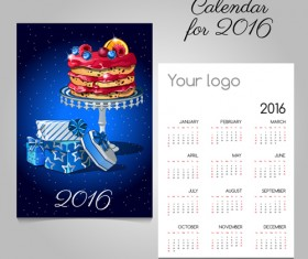 2016 calendars with christmas cards vector set 08