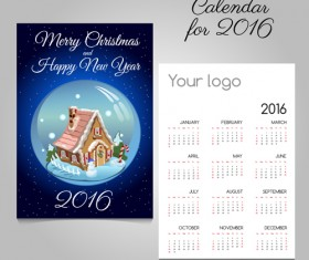 2016 calendars with christmas cards vector set 10