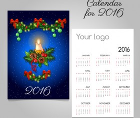 2016 calendars with christmas cards vector set 11
