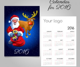 2016 calendars with christmas cards vector set 12