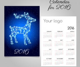 2016 calendars with christmas cards vector set 13
