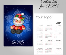2016 calendars with christmas cards vector set 14