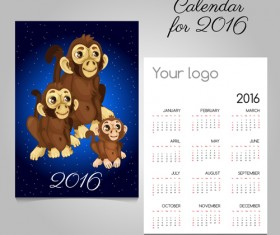 2016 calendars with christmas cards vector set 15
