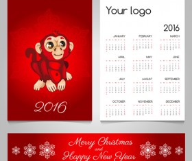 2016 calendars with christmas cards vector set 16