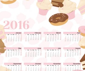 2016 calendars with ice cream and sweet vector