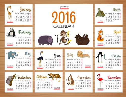 2016 calendars with wild animal vector