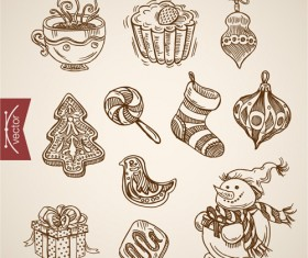 2016 christmas baubles hand drawn vectors set 01