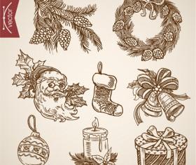 2016 christmas baubles hand drawn vectors set 02