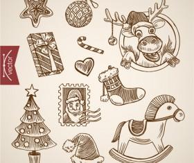 2016 christmas baubles hand drawn vectors set 06