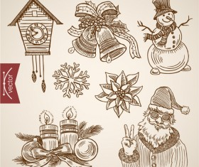 2016 christmas baubles hand drawn vectors set 07
