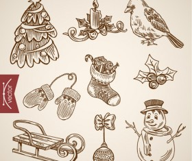2016 christmas baubles hand drawn vectors set 08