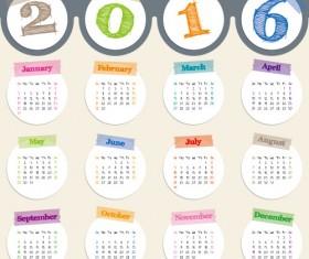 2016 circle calendars design vector