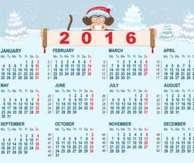 2016 monkey calendar with winter snow vector
