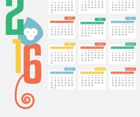 2016 monkey calendars vintage styles vector