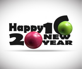2016 new year design with shiny ball vector