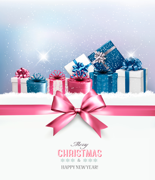 2016 new year with christmas gift cards vector 01
