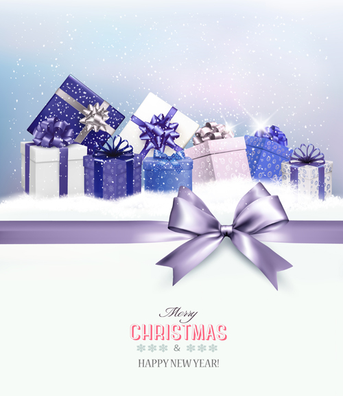 2016 New Year With Christmas Gift Cards Vector 02 Free Download