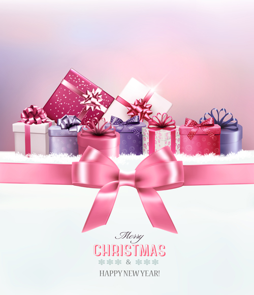 2016 New Year With Christmas Gift Cards Vector 03 Free Download